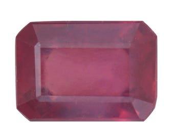 Ruby Fissure Filled Octagon Cut Loose Gemstone 1A Quality 7x5mm TGW 0.95 Cts.