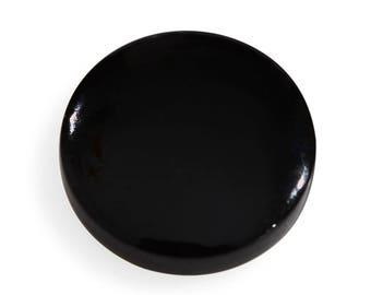 Black Jade Dyed Flat Round Cabochon Loose Gemstone 1A Quality 13mm TGW 4.75 cts.