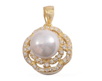 Simulated Pearl, Simulated Diamond 14K Yellow Gold Over Sterling Silver Pendant Without Chain TGW 0.60 cts.