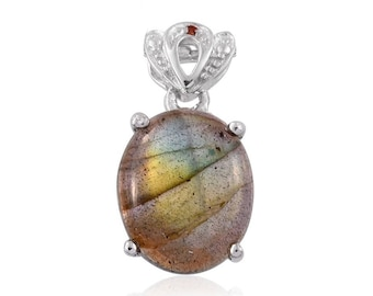 Malagasy Labradorite 12x10mm Oval Cabochon, Simulated Garnet Platinum Bonded Brass Pendant Without Chain TGW 5.35 cts.