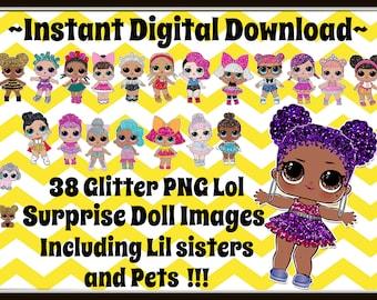 LOL Surprise Doll Glitter Images  - Includes 38  png clip art images -INSTANT DOWNLOAD -transparent background~  digital download