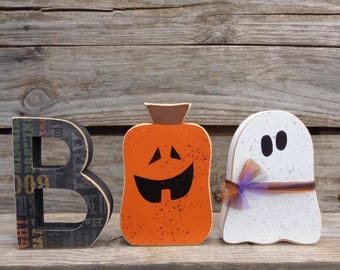 Halloween Decor- Fall Decor-Halloween Decorations- BOO w/ghost and jack o' lantern