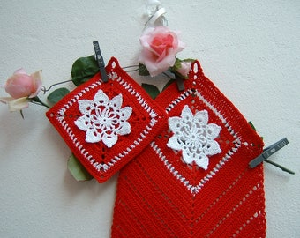 Red and white cotton pot holder and towel-full crochet for kitchen-Christmas gifts-red pot holder and crochet canvas