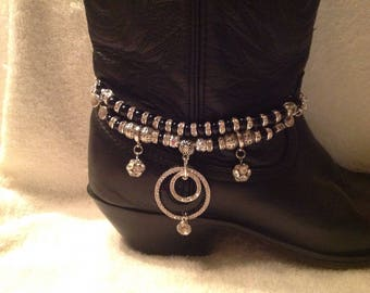 Stacked Boot Bling with Crystal rings  5007
