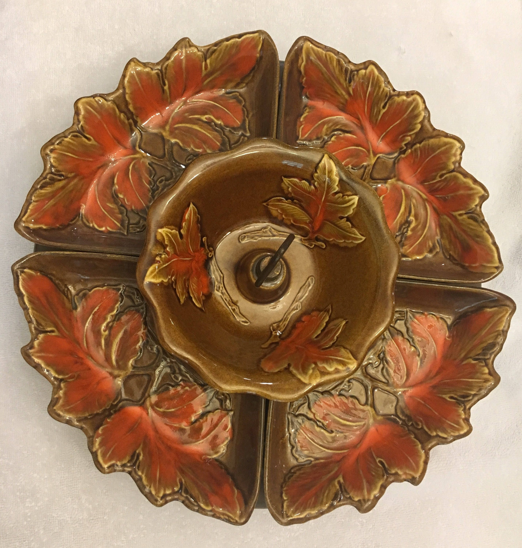 details vintage 1960s california pottery lazy susan