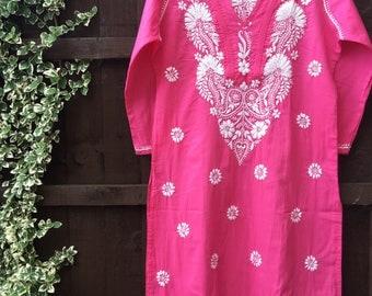 Hand embroidered • Indian kurta • Lucknovichikan kurta • indian embroidery • pink kurta • resortwear