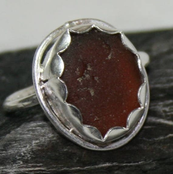 BROWN SEAGLASS RING Set in Sterling silver   Dress ring