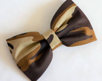 Large Brown Army Camouflage Print Hair Bow