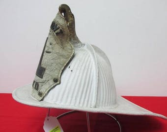 Rare antique American leather front piece metal fireman helmet with eagle WILMONT 1 VFD circa 1890s