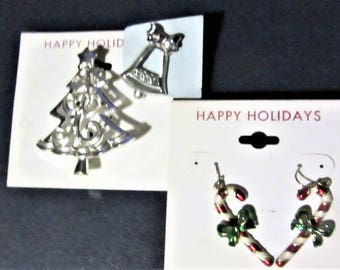 christmas jewelry Lot Snowman watch, candy cane earrings, Tree / bell Pin