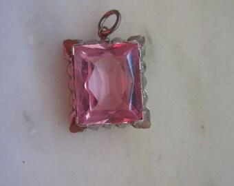 Vintage Silver Tone & Pink Crystal Pendant