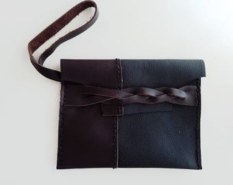 Two Tone Leather Clutch: Brown and Black