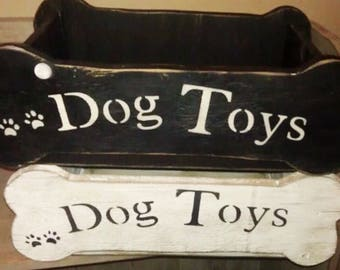 Primitive Dog Toy Box Distressed Black or White