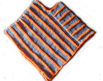 Child poncho 6 gray and orange