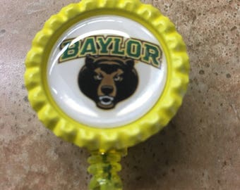 Baylor Bears Inspired Bottlecap Retractable ID Badge Holder Name Tag Reel