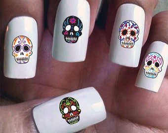 Skull nail art etsy day of the dead water slide nail decals with sugar skulls prinsesfo Gallery