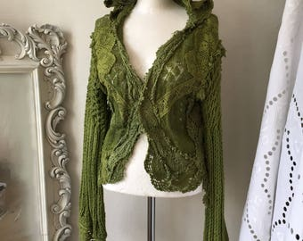 Repurposed fabric, upcycled knit cardigan, knits and laces , doilies and crochets , antique french lace , elven fairy clothing, Rawrags