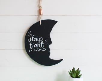 Sleep tight moon wall hanging nursery bedroom