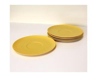"Thin Plates Laguna Melmac #302 Saucers 5 3/4"" Melamine Mid Century Modern Classic Mustard Yellow"