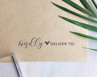 Kindly Deliver To Stamp | Business Stamp - Wedding Stamp - Small Business Packaging