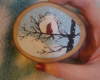 Painted wood magnet