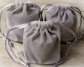 Discounted - 10 Gray Velvet Drawstring Pouches - 10x12 Drawstring Bags - Packaging, Gifts, Party, Wedding, Shop Supplies