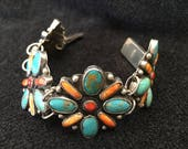 Bracelet ~ Turquoise With Spinny Oyster Shell  Sterling Silver Solid Back  Size: 7 Signed By Federico Jimenez