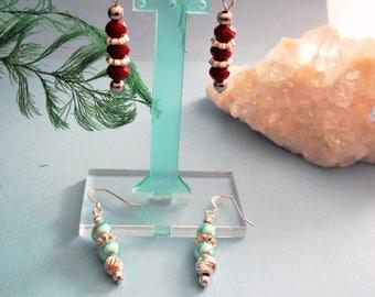 Glass Pearl Earrings Green Earrings Red Earrings Silver Earrings Bead Earrings Drop Earrings Dangle Earrings