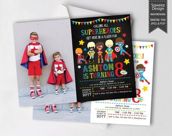Superhero Invitation, Superhero Avenger Birthday Invitation, Avenger Invitation, Boy Invitation, Birthday Invitation Photo - JPEG & PDF File