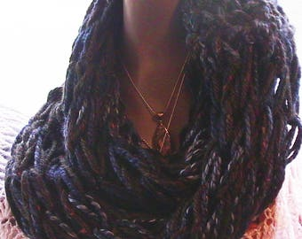 Arm Knitted Blue and Black Cowl