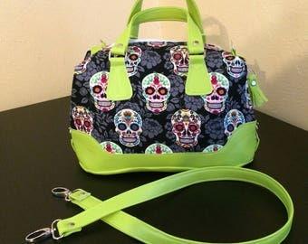 Brooklyn handbag sugar skulls with neon green vinyl accents small handbag
