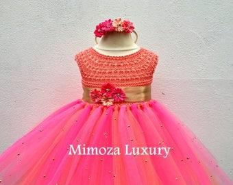 SALE Hawaii Flowergirl dress, tutu dress, Tropical bridesmaid dress, princess dress, silk crochet top tulle dress, hand knit silk top tutu d