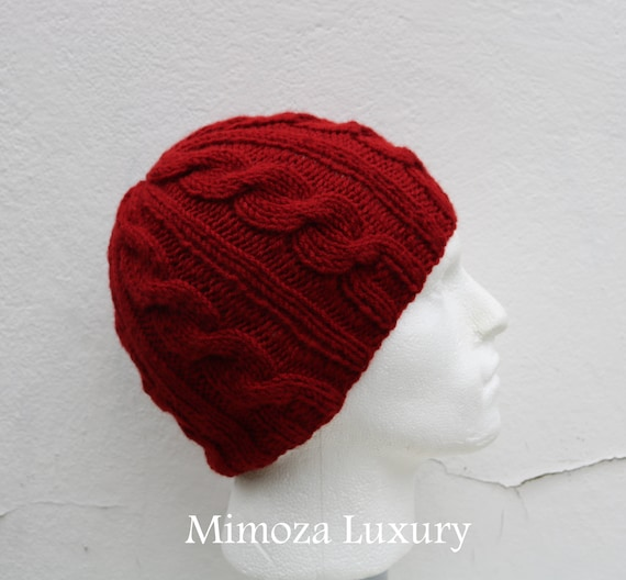 Deep Red Men's Beanie hat, Hand Knitted Hat in deep red beanie hat cap, knitted men's, women's beanie hat, winter beanie, red ski hat