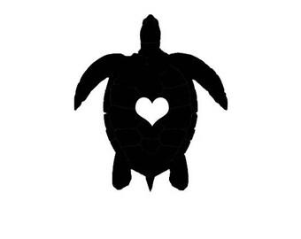 Turtle Love Heart Decal Vinyl Car Window Black White Sticker Emblem Sea Ocean