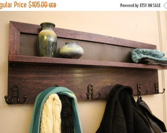 ON SALE Beautiful Dark Cherry Stained 6 Hook Wall Mounted Coat Rack with Shelf and Decorative Dark Bronze Metal Mesh, Wall Organizer and She