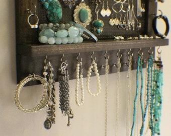 ON SALE Kona Stained Wall Mounted Jewelry Organizer, Wall Organizer, Jewelry Display, Necklace Holder, Earring Organizer