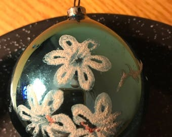 Vintage Blue Glass Ornament with Glitter Snow