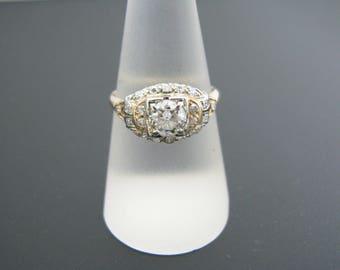 a869 Gorgeous Vintage Multi diamond Ring in 14k-18k White & Yellow gold