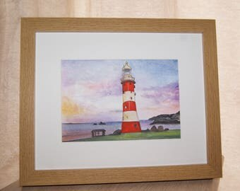 Original Framed Watercolour Lighthouse Painting