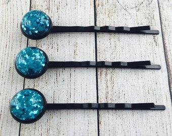 Blue Glitter Black Colour Bobby Pins •  Blue Glittery Hair Grips •  Handmade Hair Slides •  Prom Hair •  PACK of 3 •   Made in Australia •