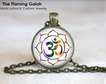 OM Symbol Pendant •  Watercolour OM and Lotus •  Namaste •  Gift for a Yogi •  Yoga Jewellery • Gift Under 20 • Made in Australia (P1395)