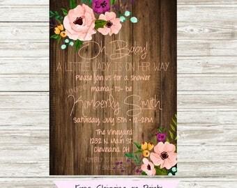 Baby Girl Shower Invitation, Baby Shower Girl Invitation, Floral Baby Shower Invitation, Rustic Baby Shower Invitation, Printable Invitation