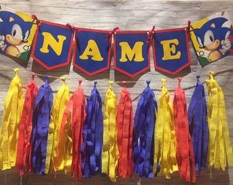Sonic the Hedgehog Birthday Party Wall Tassel Garland, Personalized Name Banner Bunting, Handmade Decorations