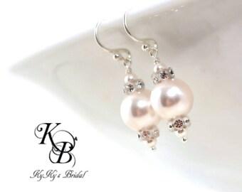 Pearl Bridal Earrings Swarovski Pearl Drop Earrings Wedding Jewelry Pearl and Crystal Earrings Bridal Jewelry Sterling Silver Earrings