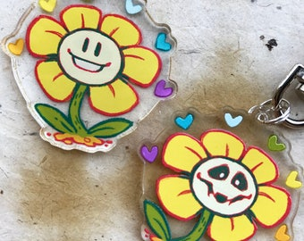 """Undertale Flowey 1.5"""" Doubled Sided Acrylic Charm - Keychain or Cell Phone Strap Available"""