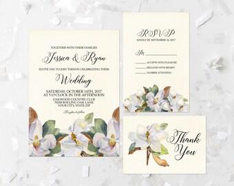 Magnolia Wedding Invitation Suite Printable White Floral Wedding Invite Southern Wedding Invitation Suite Magnolia Flowers Summer Spring 232