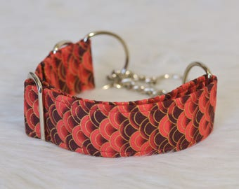 The Drogon - Red Dragon Scales with Golden Accents Dog Collar - Choose your width and hardware! - By The Silver Hound