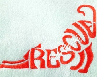 Embroidery Design Digitized Rescue Cat Text Fill 5 x 7