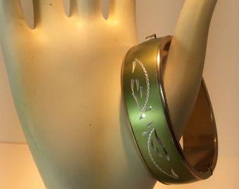 Vintage Signed Hobe Bangle Bracelet. Etched Bracelet