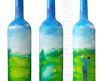 Hand painted vodka bottle with golf player.